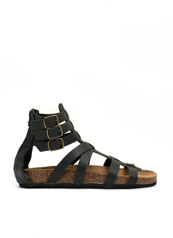 Tri-Buckle Strapped Gladiator Sandals BLACK
