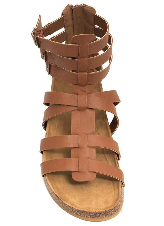 Tri-Buckle Strapped Gladiator Sandals COGNAC