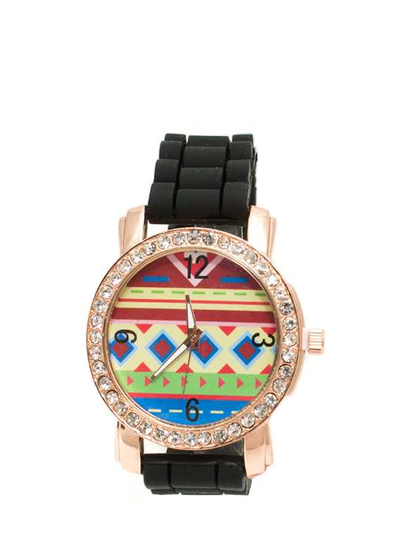 Rhinestone Trim Aztec Silicone Watch BLACK