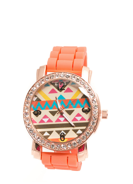 Rhinestone Trim Aztec Silicone Watch ORANGE