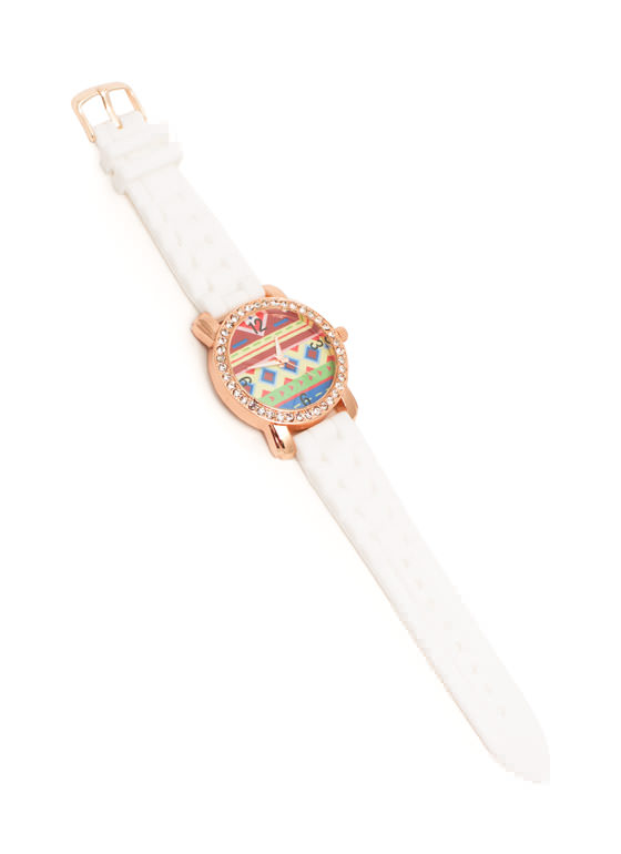 Rhinestone Trim Aztec Silicone Watch WHITE