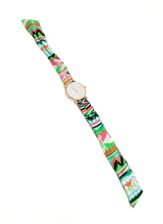 Tribal Fabric Strap Boyfriend Watch GREENMULTI