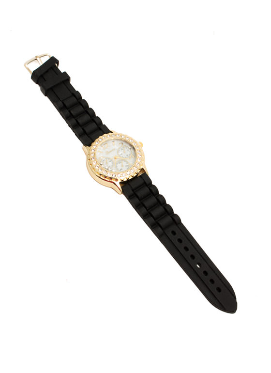 Rhinestone Silicone Boyfriend Watch BLACKGOLD
