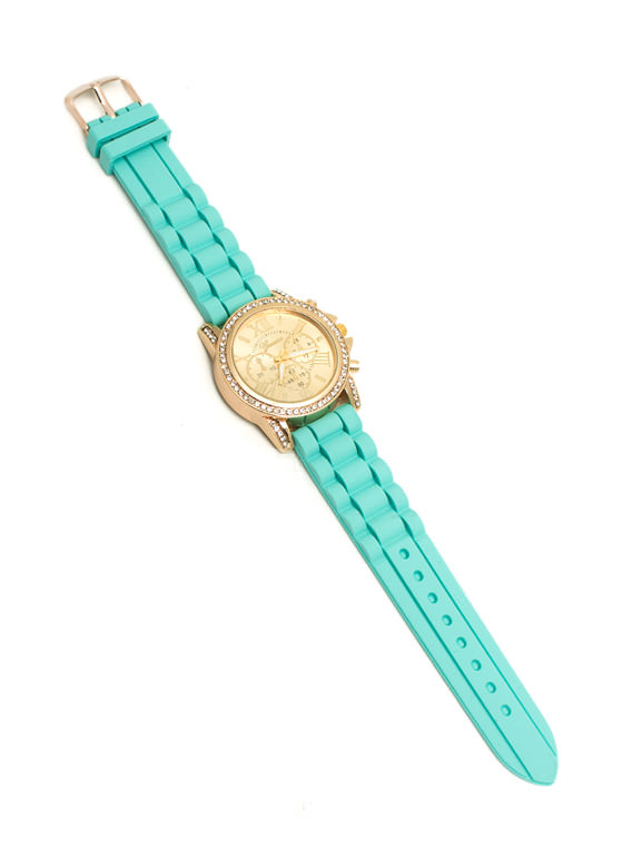 Jeweled Roman Numeral Silicone Watch MINT