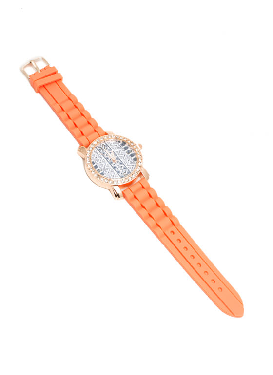 Rhinestone Trim Tribal Silicone Watch ORANGE