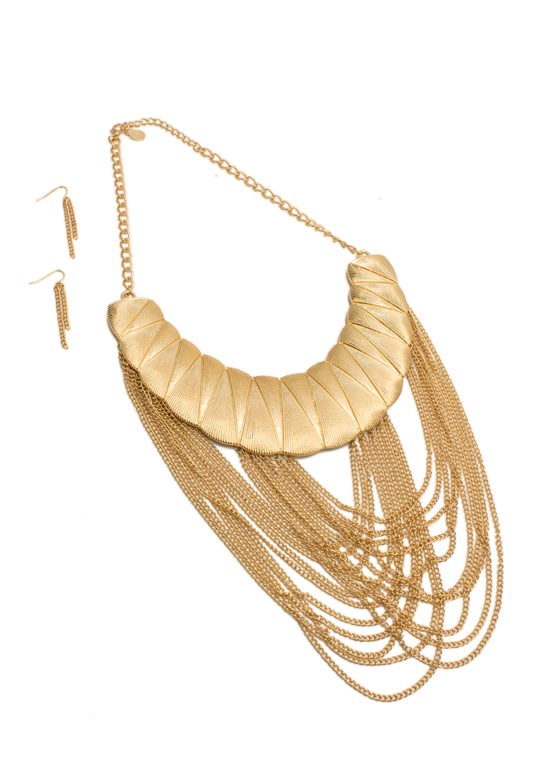Textured Drape Chain Necklace Set GOLD