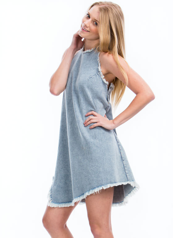 Frayed Denim Halter Dress BLUE