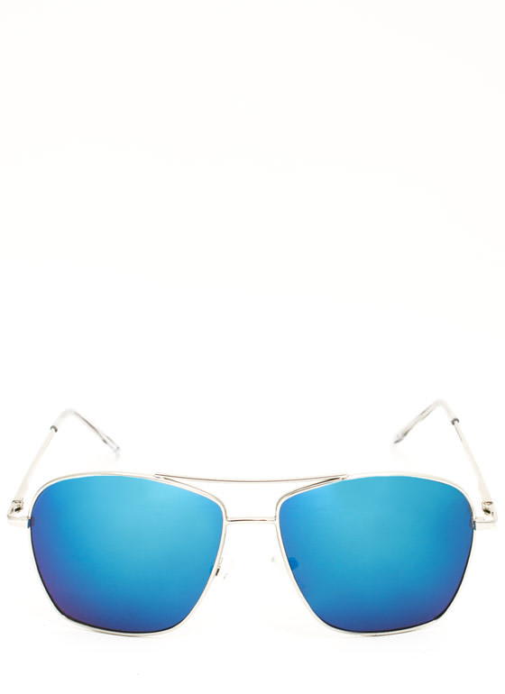 Reflective Squared Aviator Sunglasses BLUE