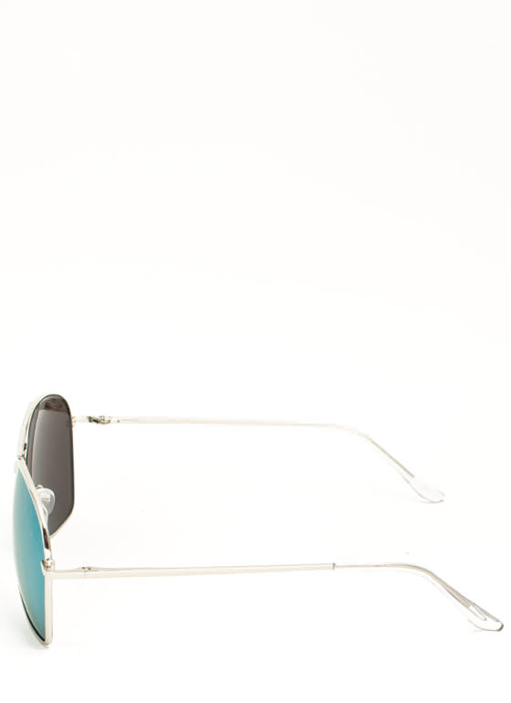 Reflective Squared Aviator Sunglasses TEALYELLOW