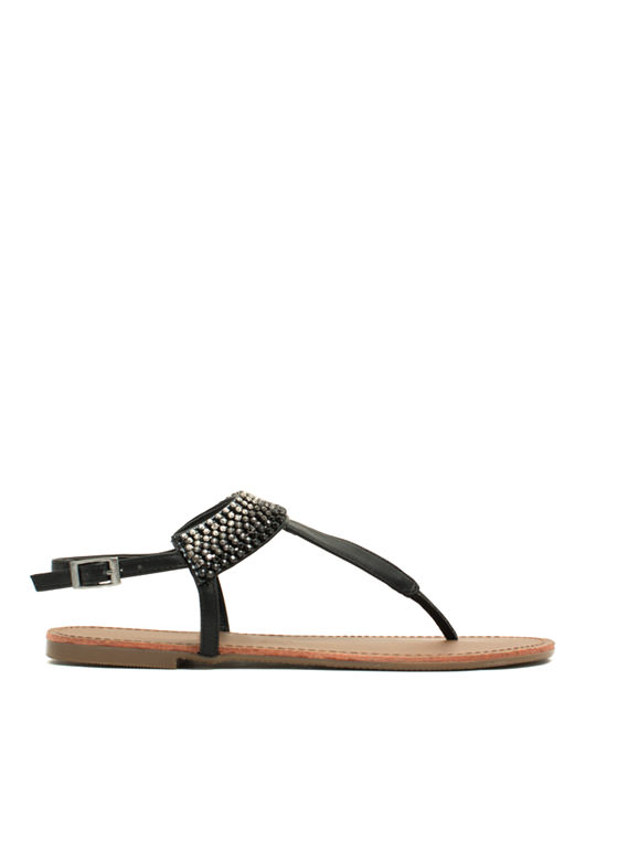 Jewel Me Twice T-Strap Sandals BLACK
