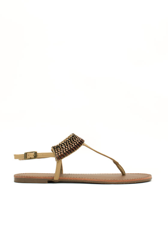 Jewel Me Twice T-Strap Sandals NATURAL