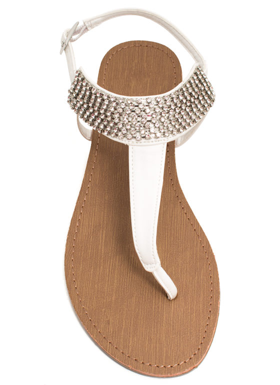 Jewel Me Twice T-Strap Sandals WHITE