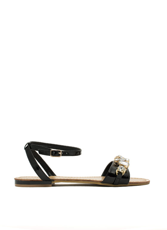 Jewel Heist Strappy Chained Sandals BLACK