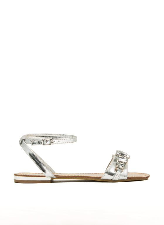 Jewel Heist Strappy Chained Sandals SILVER