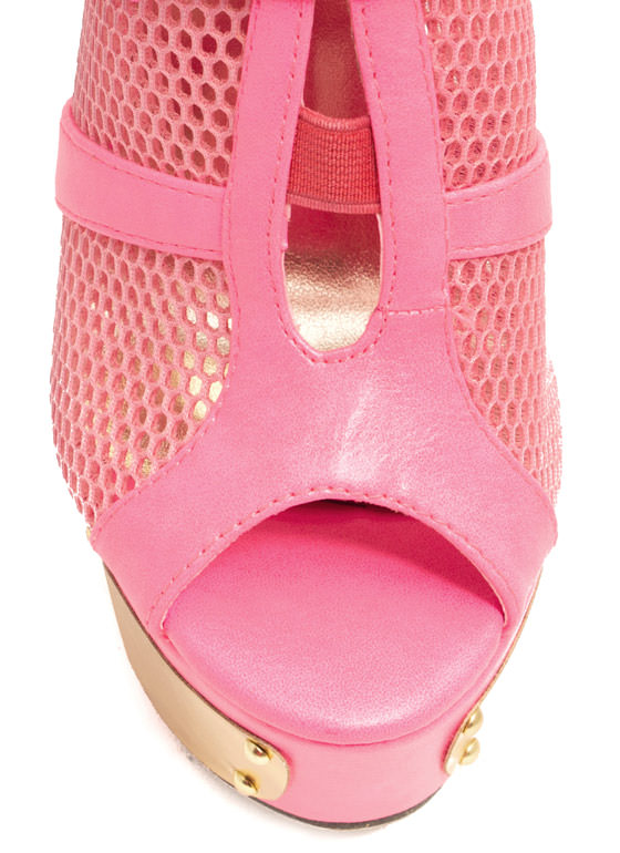 Sport Of Queens Strappy Mesh Platforms FUCHSIA
