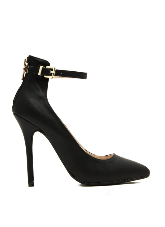 Ready To Mingle Single Strap Heels BLACK