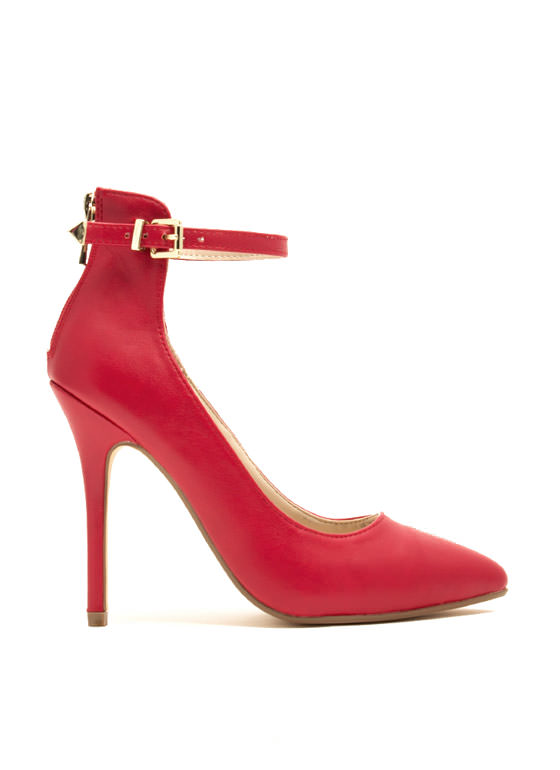Ready To Mingle Single Strap Heels RED