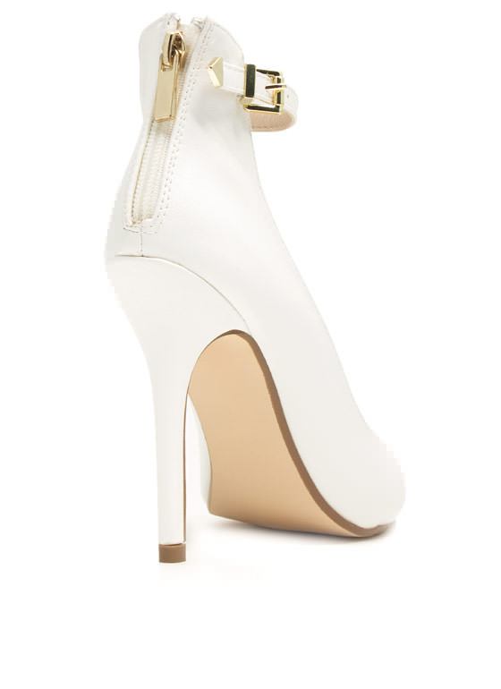 Ready To Mingle Single Strap Heels WHITE