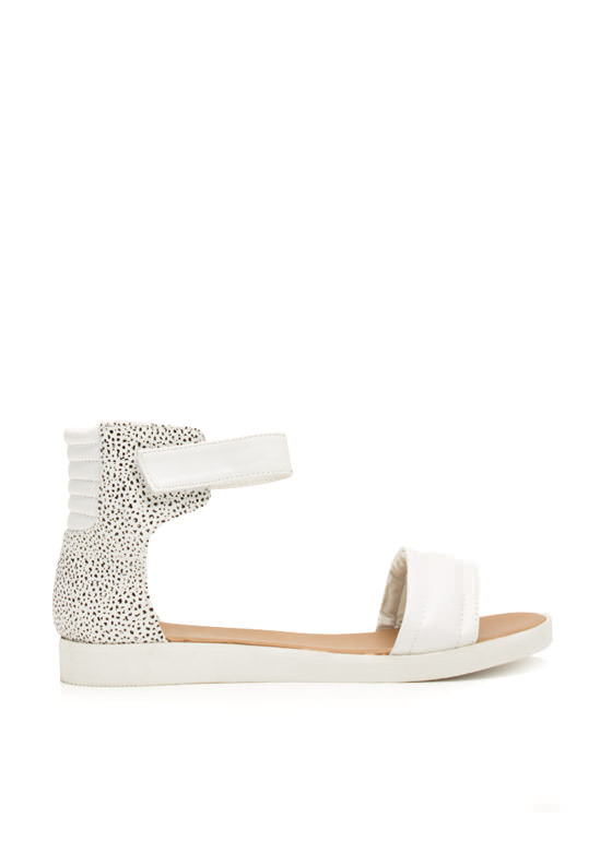Rock 'N Quilted Faux Leather Sandals WHITE