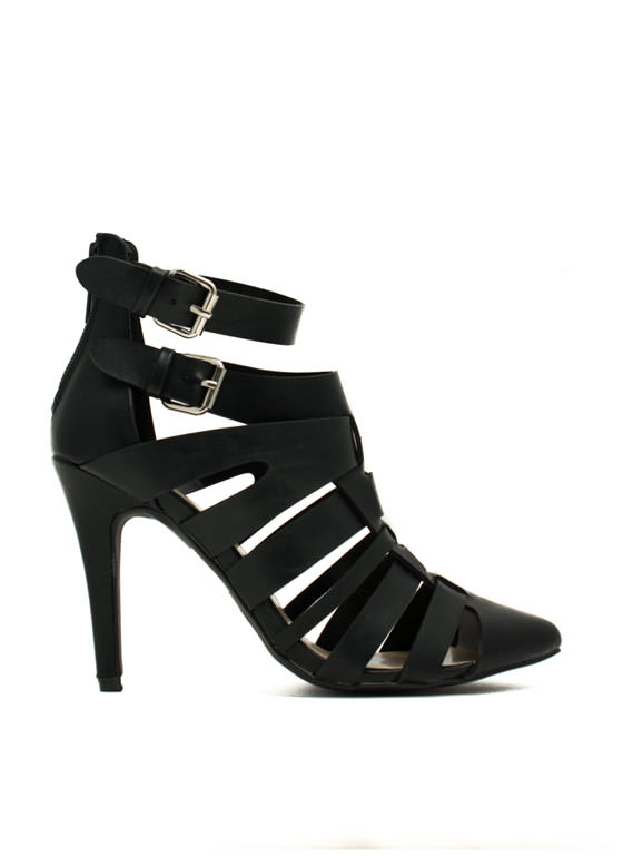 Woven Caged Single-Sole Heels BLACK