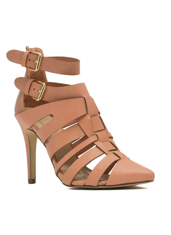 Woven Caged Single-Sole Heels NUDE