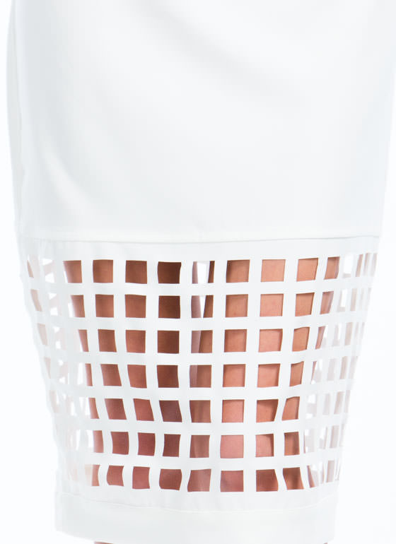 On The Grid Cut-Out Skirt WHITE