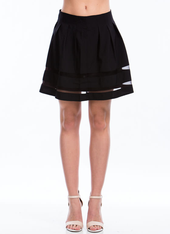 Sheer Striped Pleated Skirt BLACK