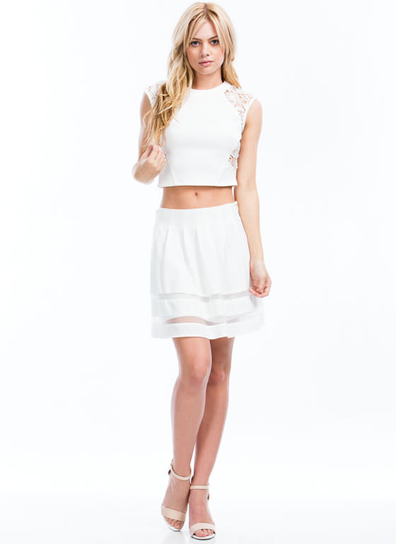 Sheer Striped Pleated Skirt OFFWHITE