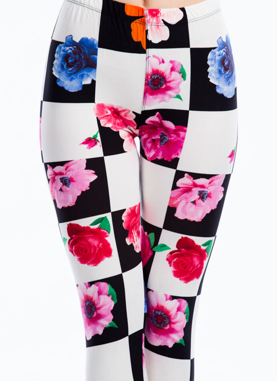 Floral Checkered Leggings BLACK