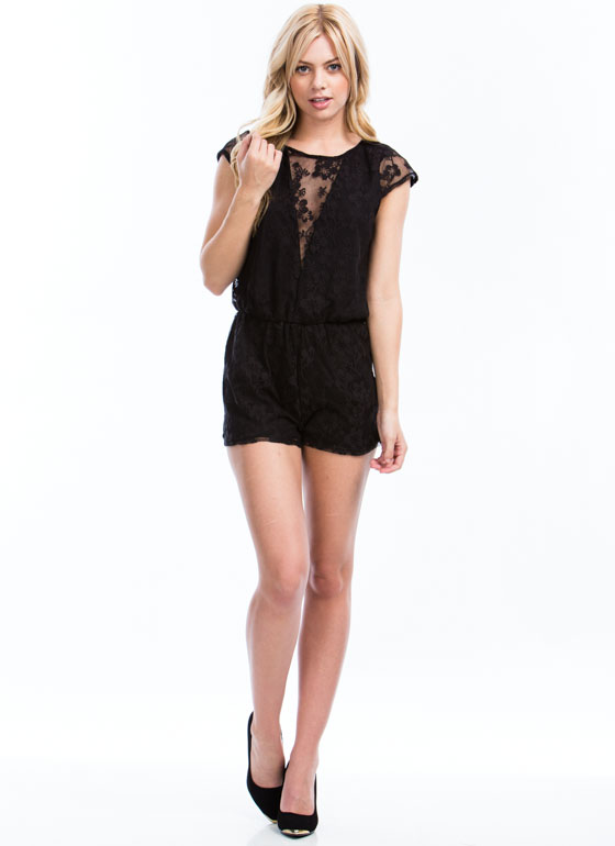 V To It Floral Lace Romper BLACK