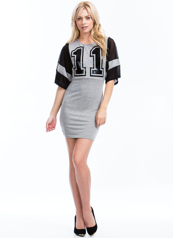 Number 11 Bodycon Dress GREY