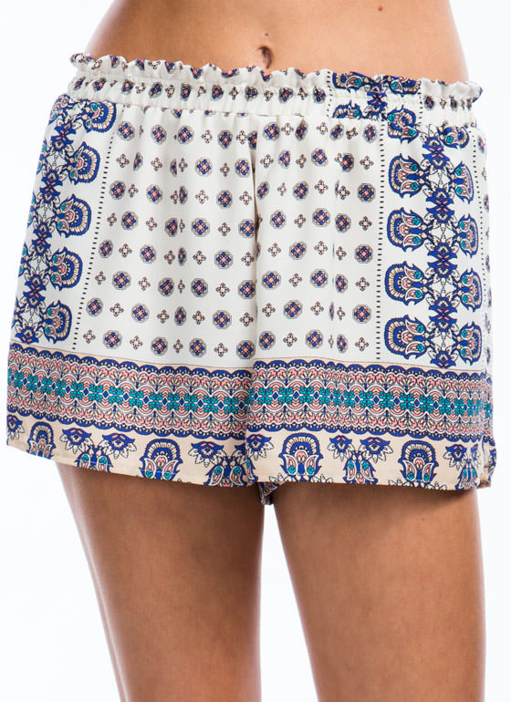 Ornamented Border Print Shorts CREAM