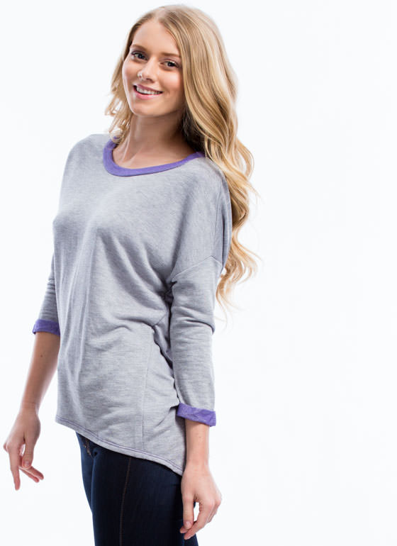 Color Me Neon Shredded Sweatshirt PURPLE