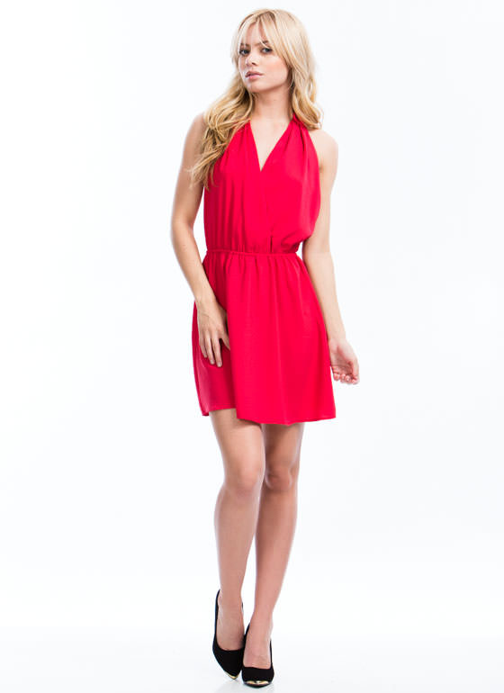 Silky Halter Dress CORAL