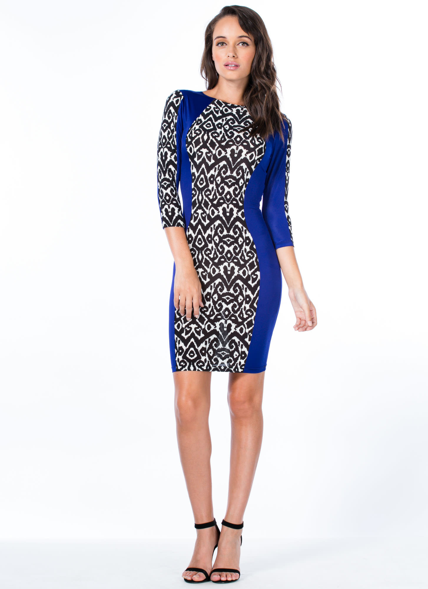 Total Abstraction Bodycon Dress ROYALBLACK