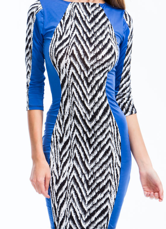 Walk In Zigzag Bodycon Dress BLUEBLACK