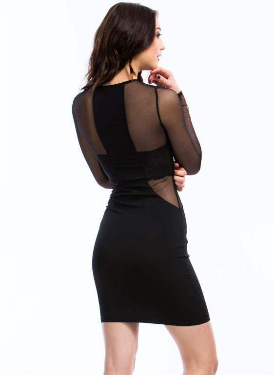 In The Mesh Zipper Bodycon Dress BLACK