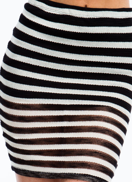 Sheer And There Striped Knit Skirt BLACKWHITE