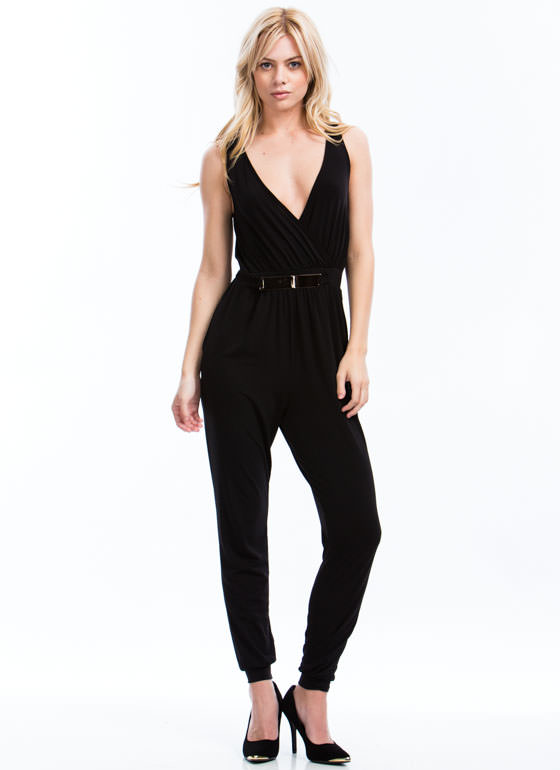 Plate It Cool Surplice Jumpsuit BLACK