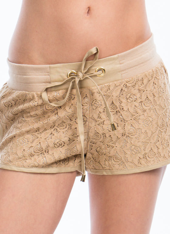 Drawstring Me In Floral Lace Shorts KHAKI