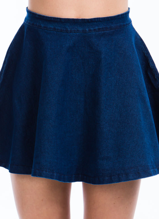 Let's Play Flare Denim Skater Skirt DKBLUE