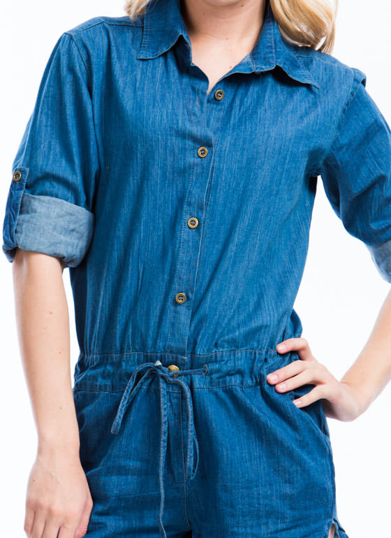 Drawstring You In Chambray Romper BLUE