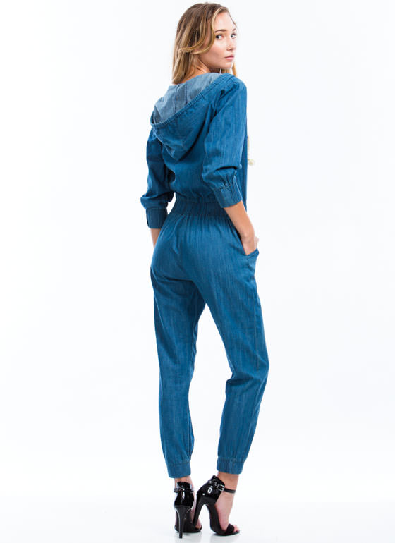 Good In The Hood Chambray Jumpsuit BLUE