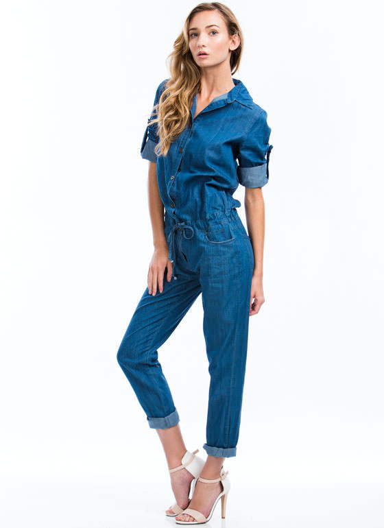 Drawstring You In Chambray Jumpsuit BLUE