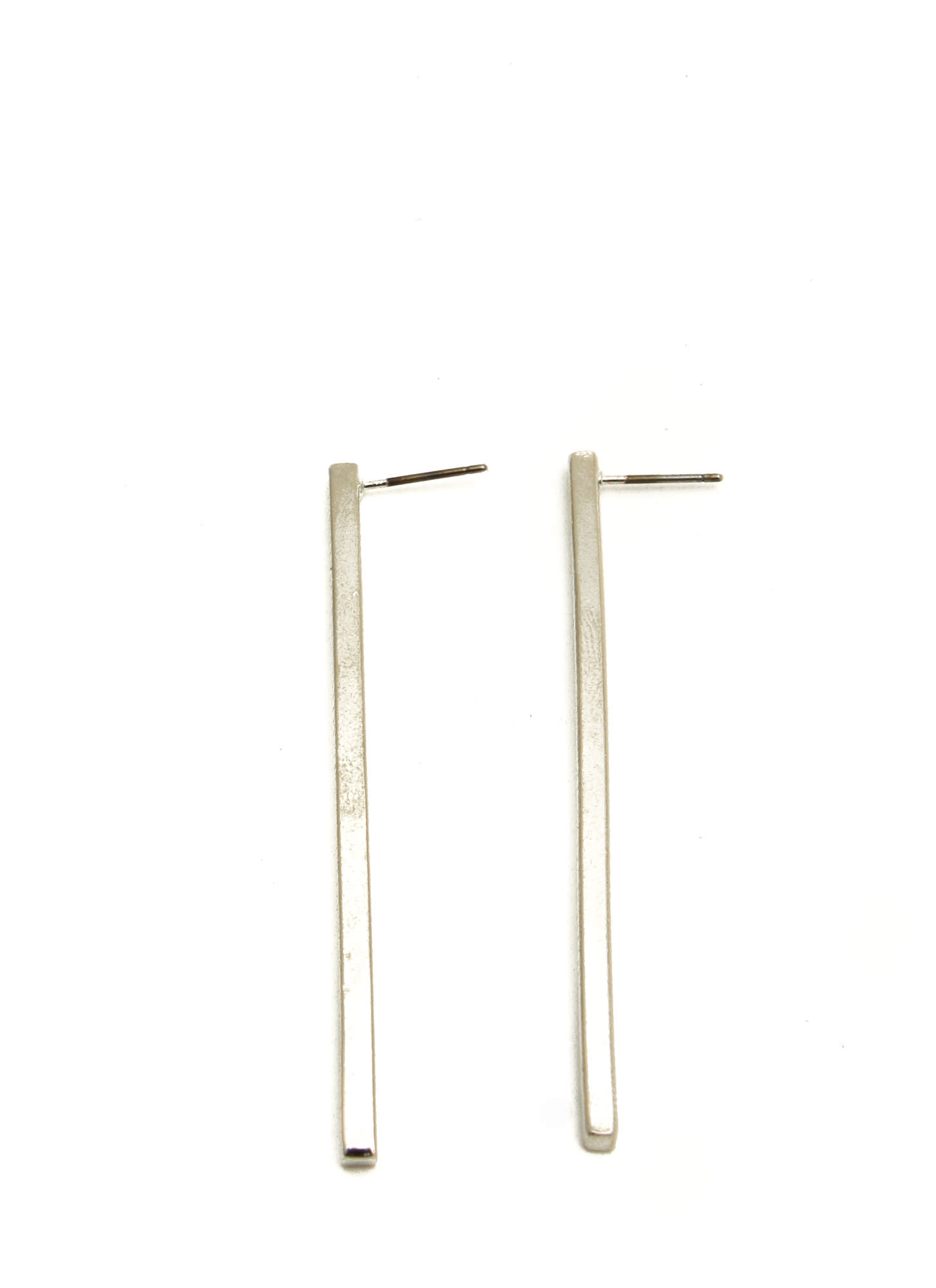 Matte Metallic Long Bar Earrings SILVER