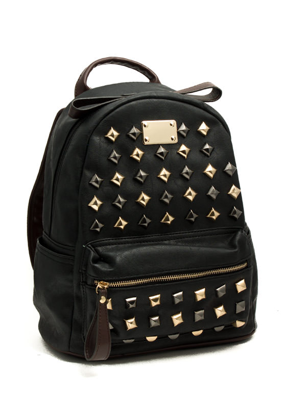 Pyramid Studded Mini Backpack BLACK