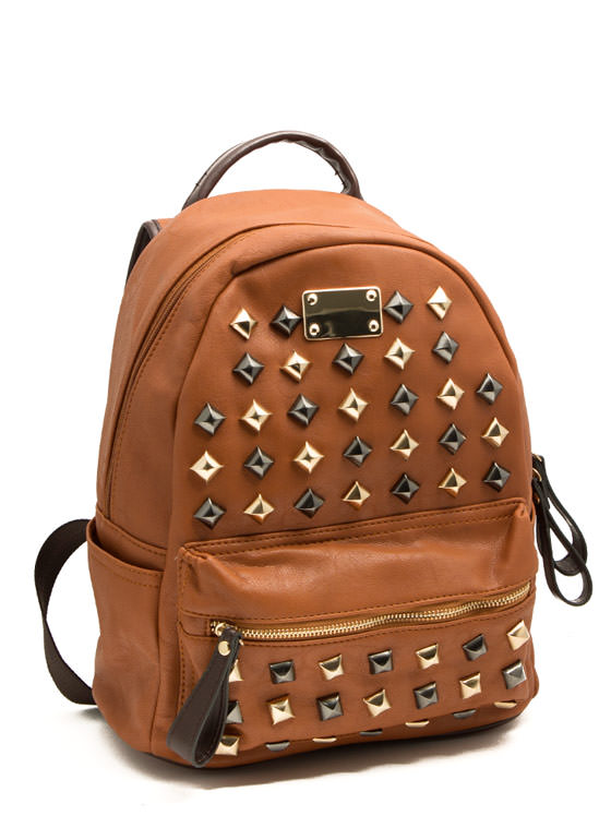 Pyramid Studded Mini Backpack TAN
