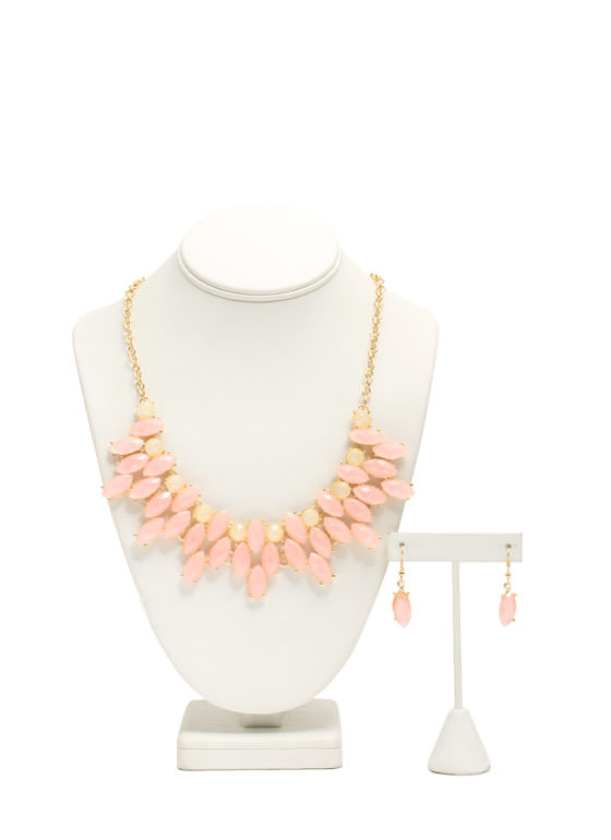 Multi-Layered Faux Jewel Necklace Set PINKBEIGE
