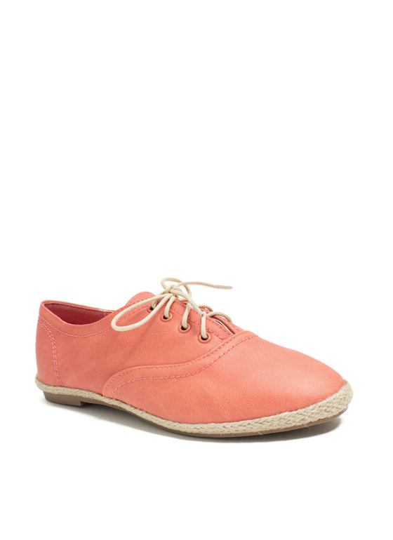 Jute Force Faux Leather Oxford Flats SALMON