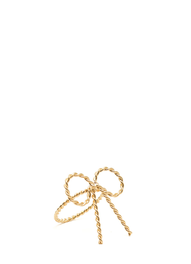 Textured Bow Ring GOLD